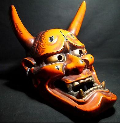 "JAPANESE VINTAGE HANNYA MASK ""SEA FIREFLY"" NOH DEMON DEVIL ONI LACQUER r400"