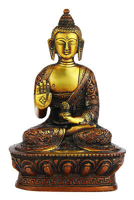 Blessing Brass Sitting Buddha Brass Statue Indian Handicraft 7""