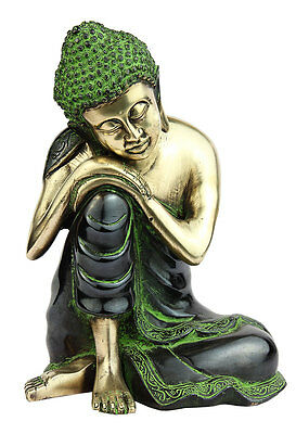 Thinking Brass Buddha Bronze Statue Hand Made Indian Chinese Buddhism Décor 9""