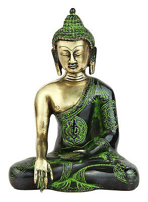 Long Bronze Ear Buddha Sitting Statue Tibet Buddhism Medicine Home Décor 7""