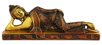 Reclining Brass Buddha Statue Tibet Buddhist Figurine Home Décor 3""
