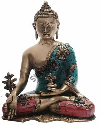 Medicine Bronze Buddha Brass Statue Tibet Buddhist Chinese Old Thai Décor 11""