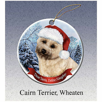 Cairn Terrier Howliday Porcelain China Dog Christmas Ornament