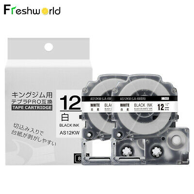2PACK Compatible for Epson/K-SUN LC-4WBN9/SS12KW Label Tape Black on White 1/2''