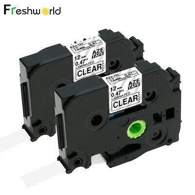 2PK Compatible Brother TZe-131 Standard P-Touch Label Tape Clear LabelMaker 12mm