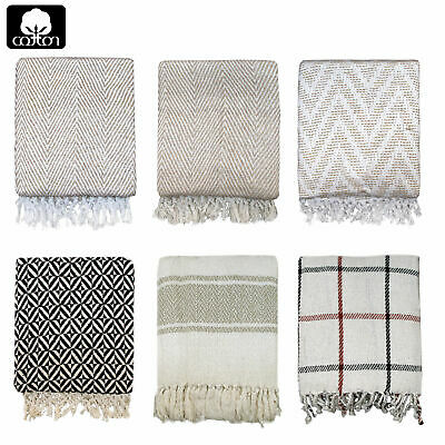 Creative Collections 100% Cotton Sofa Lounge Bed Fringe Throw Blanket Rug