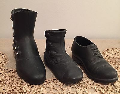 Vintage Lot Of 3 Black Ceramic Shoes Boot Victorian England Button Up Style