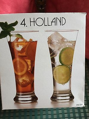 Set of 4 beer glasses; crystal clear; New in Box; 18.25 oz.; pretty shape