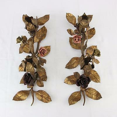 Pair Italian Tole Flower Candle Sticks Centerpiece Candleabra 1950s VTG Roses