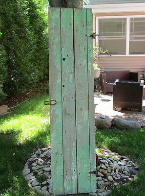 Vintage Green WOOD BARN DOOR wooden antique architectural salvage farm house