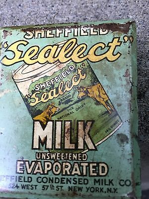 Antique Vintage Sheffield Sealect Milk Advertising Clip Sign Country Store