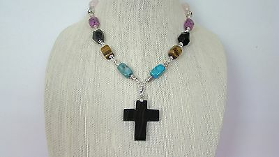 Necklace Earrings Set Mixed Gemstone beads wire wrapped