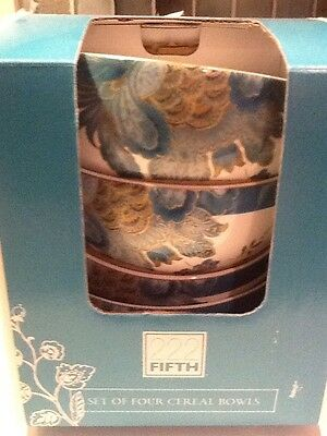 222Fifth Eliza Teal Set Of 4 New In Box Cereal Bowls