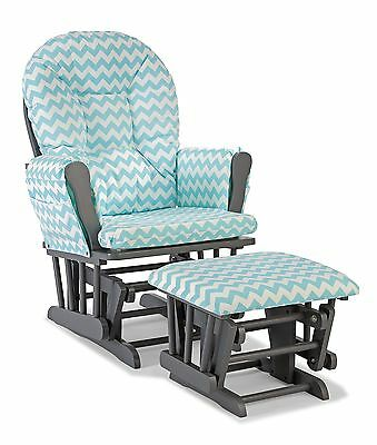 Stork Craft Custom Hoop Glider and Ottoman, Gray/Turquoise Chevron No Tax Ex CA