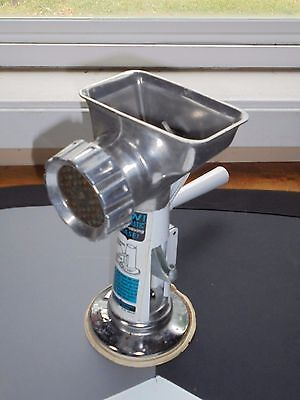 Vintage Rival Vac o Matic Meat Grinder Aluminum White Paint Kitchen Collectible