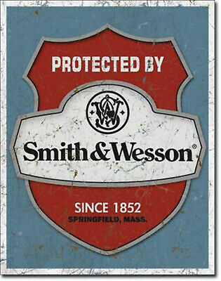 Smith Wesson Protected By Logo Blechschild Flach Neu aus USA 31x40cm mit Bset