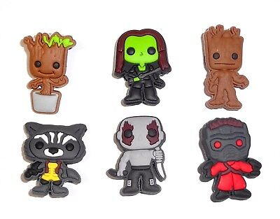 Guardians of the Galaxy  6 Shoe Charms Kids Set  for fits Jibbitz Clogs Crocs