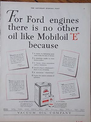"2 Original 1920's AD MOBILOIL ""E"" FORD & Gargoyle Vintage Print Advertising"