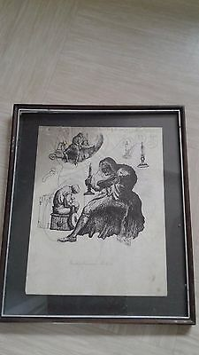 vintage ink picture study of Brutus and Lucius in the tent (Shakespeare play)