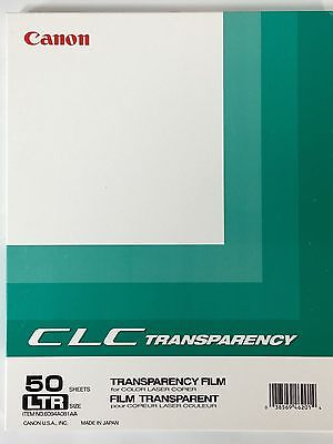 CANON TRANSPARENCY FILM FOR LASER PRINTER OR COPIER 50 SHEETS COLOR 8.5 x 11 LTR