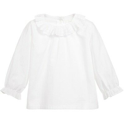 Marie Chantal Baby Girls White Cotton Ruffle Collar Top 3 Years