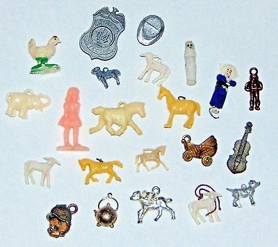 22 pc Vintage Cracker Jack toys and Gumball Machine Prizes Lot Celluloid Animals