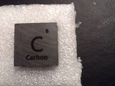 "Carbon Mini 20 Mm  Cube  Square   """"  99.99 % Pure Carbon-  Unique Metal Gift"