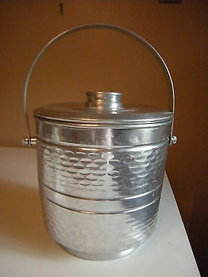 Ice Bucket With Lid & Handle Vintage Hammered Aluminum Double Wall Nasco Italy