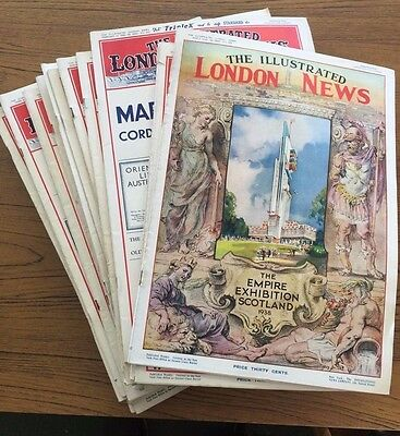 1938 Illustrated London News Lot of 25 Issues Wholesale Lot