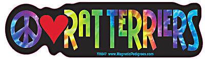Peace Love Rat Terrier Tie Dye Hippie Dog Car Decal Sticker