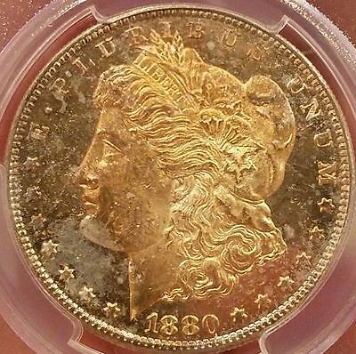 1880-S Morgan Silver Dollar PCGS MS63PL Rainbow Colored Toned Gem