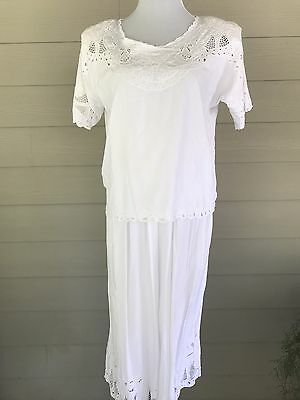 Vtg 2pc White Culottes Outfit Bali Cutwork Rayon one size Resort Destination