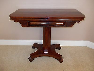 Antique William Iv Mahogany Card Table / Games Table