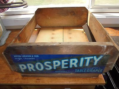 Vintage Anton Caratan & Son California Prosperity Table Grapes Wood Produce Box