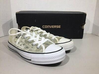 CONVERSE Unisex Mens 4 Women's 6 Ox Clear White Sneakers Shoes XJ-130