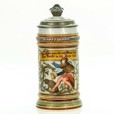 Mettlach 2382 Antique Etched German Lidded Beer Stein - The Thirsty Knight 1L