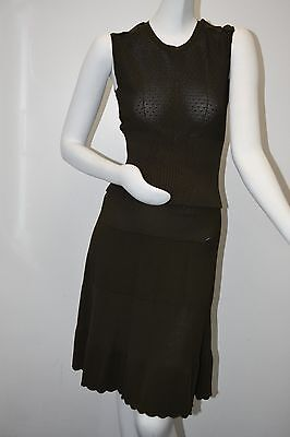 $5100 NEW CHANEL SUIT Skirt Top STRETCHY KNIT Khaki Green Crystal CC Buttons 36