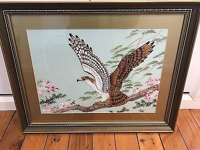 Vintage / Retro Glass Framed Embroyed Eagle Theme