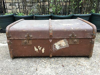 Antique Old Vintage Victorian Edwardian Shipping Trunk Chest