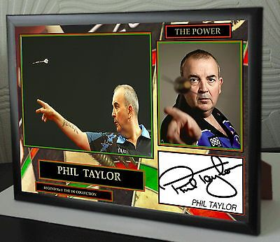 "Phil Taylor ""The Power"" Darts Framed Canvas Print Signed 180 Collection"