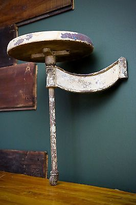 Vintage Industrial Cast Iron Bracket Swing Arm Table Stool Wood Seat W/ Wheel