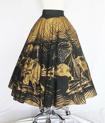 Vintage 1950s Bull Fighting Gold and Sequin Mexican Circle Skirt