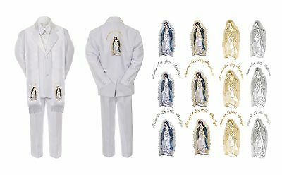 New Born Baby Boy Christening Church White Suit Mary Maria On Stole Back Sm-7