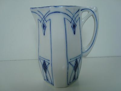Vintage Art Deco Delft Blue White Porcelain Creamer Small Milk Pitcher 5.5'' H