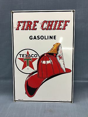 """Vintage FIRE CHIEF GASOLINE TEXACO Porcelain Sign 16"""" x 10 1/2"""" Made In USA"""