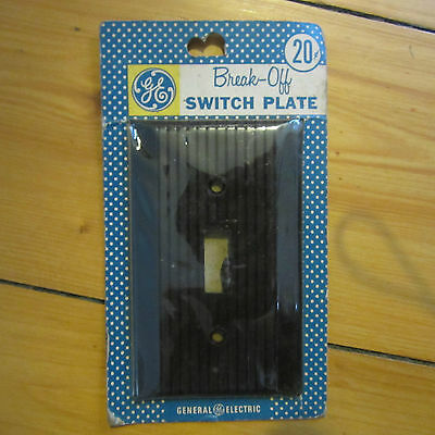 vtg '40-50s NOS brown GE Break Away Switch Plate Single Gang or Double Deco McM