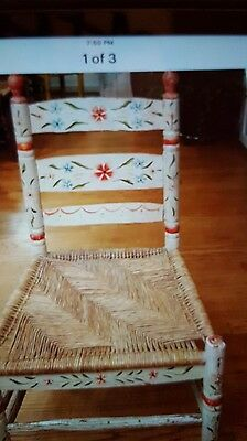Vtg Mexican Folk Art Hand Painted Adult Wood Chair.