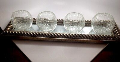 Gold Rectangular Mirrored Tray Holds 4 Glass Votive Candle Holders