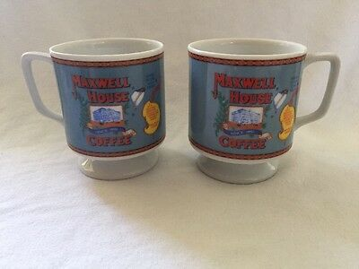 """Vintage 2 Maxwell House Coffee Cups Mugs """"Good To The Last Drop"""""""