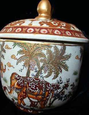 Vintage Asian Pottery-Covered Urn Painted with Elephants, Monkeys